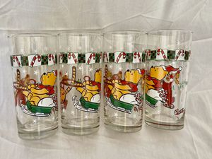 Set of 4 Winnie the Pooh Christmas Glasses for Sale in Tooele, UT