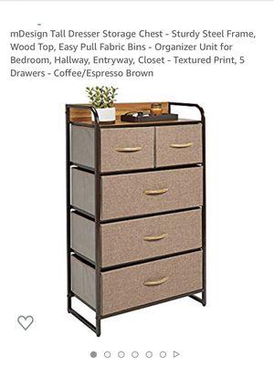 M design tall dresser storage chest, sturdy steel frame, wood top , easy pull fabric bins, organizer unit for bedroom, hallway,entryway, closet,textu for Sale in Eastvale, CA