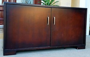 Beautiful HEAVY SOLID WOOD Television TV Entertainment Media Console Cabinet Stand Unit + Shelves + Sliding Drawer INCLUDED for Sale in Monterey Park, CA
