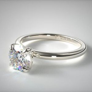 Ideal Cut Round Brilliant Diamond Ring 1.11ct 14K white gold prong claw Solitaire ring (flush fit) witch is currently sized to a size 4 for Sale in Carpentersville, IL