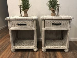 Pier one imports wicker nightstands / end tables for Sale in Glendale, AZ