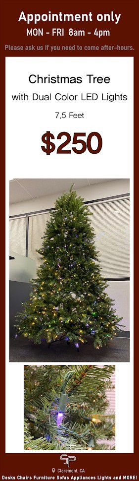 Artificial Christmas Tree with dual Color LED Lights 7.5ft for Sale in Claremont, CA
