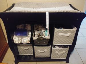 Changing table , bins, pad and cover for Sale in St. Petersburg, FL