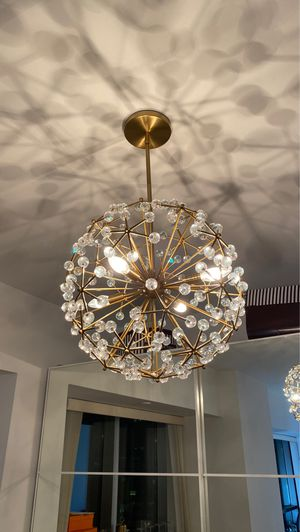 Living room chandelier antique brass for Sale in New York, NY