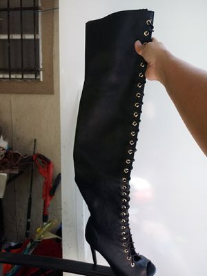 Open toe lace up thigh high boots new for Sale in Houston, TX