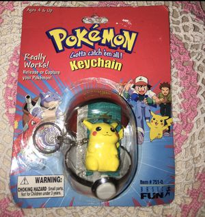 Pokemon Pikachu Basic Fun (1999) Figure Pokeball Keychain for Sale in Colton, CA