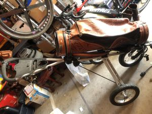Sun mountain speed cart with custom leather golf bag for Sale in North Las Vegas, NV