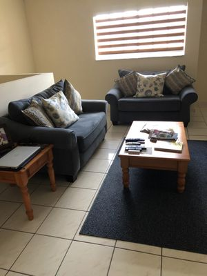 Two twin sofa beds and tables and a Red TV console for Sale in Hialeah, FL