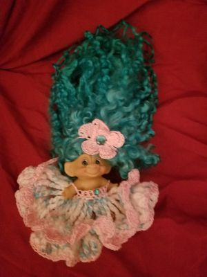 Troll Doll teal hair and crochet outfit for Sale in HUNTINGTN BCH, CA