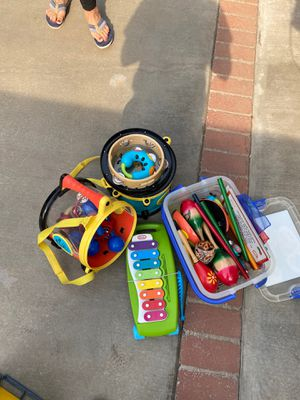 Kids toy instruments tambourines maracas xylophone music sticks for Sale in Whittier, CA