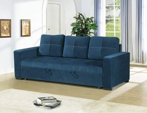 NAVY BLUE POLYFIBER LINEN LIKE SOFA ADJUSTABLE BED COUCH - SILLON CAMA - PULL-OUT SLEEPER for Sale in Downey, CA