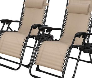 Adjustable Zero Gravity Lounge Chair Folding Out Door Reclining Chairs for Deck, Patio, Beach, Yard, Pool, w/Utility Tray -Set of 2- Beige for Sale in Los Angeles,  CA