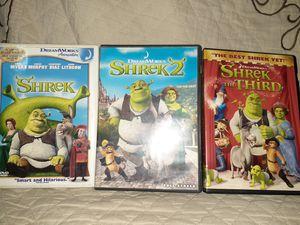 Shrek 1,2 & 3 dvds for Sale in Denver, CO