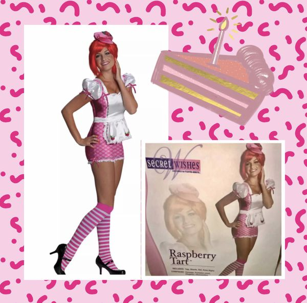 """""""RASPBERRY TART!"""" Super Cute raspberry tart women's costume with extras size LARGE - BRAND NEW IN THE PACKAGE!"""