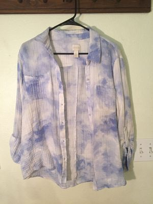 Chico's blue and white long sleeved collared shirt for Sale in North Las Vegas, NV