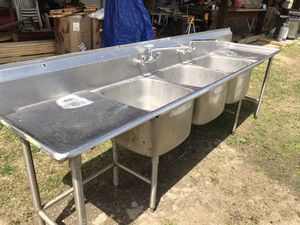 3 bay stainless home or commercial sinks for Sale in Elmira, NY