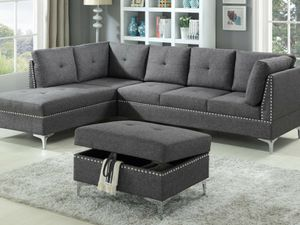 NEW - Grey Sectional Sofa and Storage Ottoman ▪︎FREE SAME-DAY DELIVERY▪︎ for Sale in Baltimore, MD