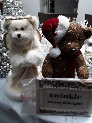 Teddy bear lot gold beaded tree topper angel fuzzy twinkle holiday Christmas decor for Sale in Carmel, IN