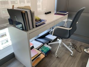 IKEA Micke desk and Langfjall swivel chair for Sale in Arlington, VA