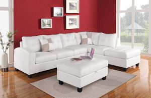 New White Faux Leather 3pc Reversible Sofa Sectional Couch & Storage Ottoman for Sale in Stanton, CA