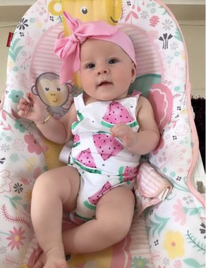 Summer Cute Baby Girls Romper Jumpsuit Headband Watermelon Printed Outfits Sunsuit Set New 12m Children Kids Clothes Hot for Sale in Los Angeles, CA