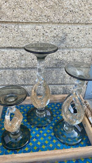 Set 3 Glass Glitter Decor Holders Nicely Handcrafted for Sale in Buena Park, CA