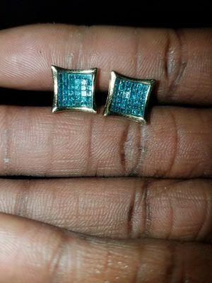 10k blue princess cut diamond earrings for Sale in Pittsburgh, PA