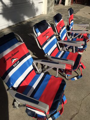4 folding Tommy Bahama beach chairs with mini cooler pouch for Sale in Upland, CA