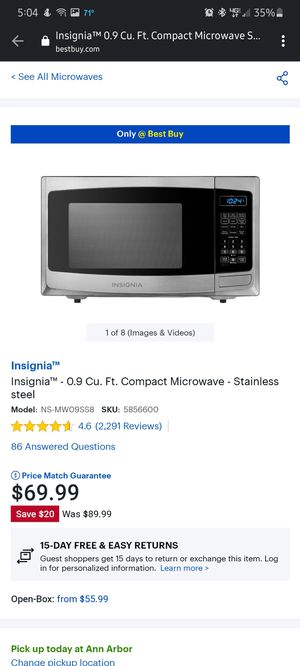 Insignia 0.9in stainless steel microwave for Sale in Saline, MI