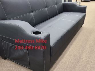 New Box Black Leather Sofa Bed Cup Holders Under Storage for Sale in Riverdale Park,  MD
