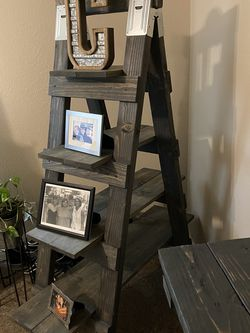 Ladder Bookcase Shelves Wood Gray for Sale in Covington,  WA