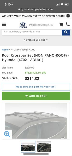 Brand NEW Hyundai Crossbar Set for Sale in West Carson, CA