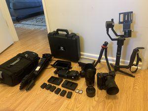 Sony A6300 bundle 3 lens, remote tripod, zhiyun crane, speedlite and more for Sale in Newport Beach, CA