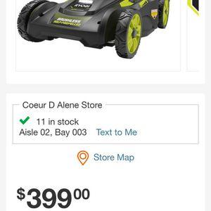 Ryobi 40v 20in Electric Mower for Sale in Spokane, WA