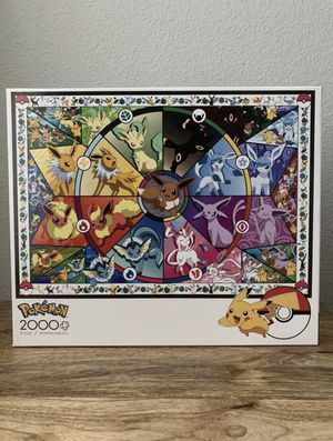 NEW Pokemon Buffalo Games Eevee Stained Glass 2000 Jigsaw Puzzle for Sale in Chino, CA