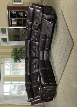 McKenzie Brown Leather Reclining Sectional for Sale in Houston, TX