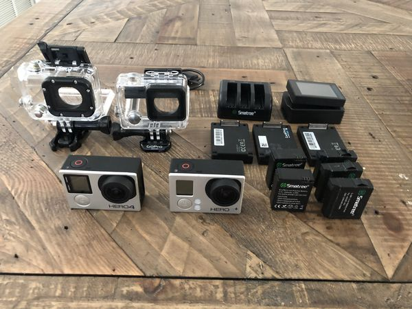 Gopro Hero 3+silver and Hero 4 with tons of accessories and cases and batteries
