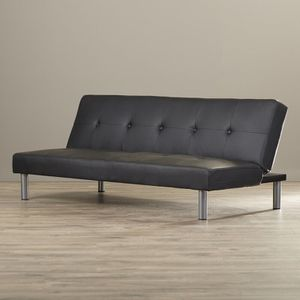 Black bonded leather couch/futon for Sale in Las Vegas, NV