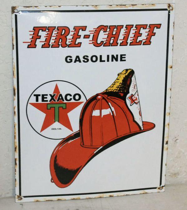 Texaco Fire Chief Oil Vintage Porcelain Sign Gas Pump Man Cave Station 1950s