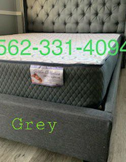New Queen Gray Tufted Bed With New Mattress Included for Sale in Clovis,  CA