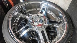 "Wheels and tires 22"" 5 lug universal for Sale in Riverside, CA"