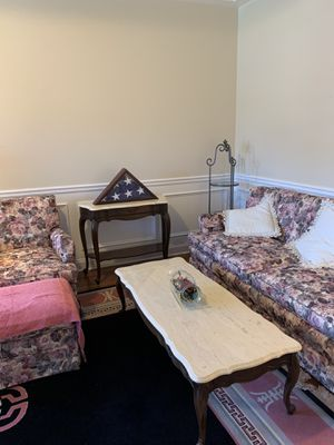 Furniture couch, chair & ottoman, 2 end table & coffee tables marbles tops and rug for Sale in Nettie, WV
