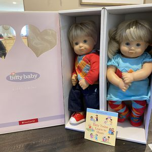 American Girl Doll Bitty Baby Twins Boy Girl Blonde Hair Like New With Box for Sale in Riverside, CA