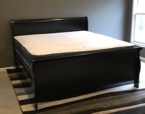 Black King Bed Frame with Mattress Set!!Brand New Free Delivery for Sale in Chicago, IL