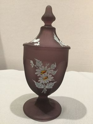 1970s WESTMORELAND BROWN MIST HAND PAINTED DAISIES FOOTED CANDY OR APOTHECARY JAR WITH LID for Sale in Ocoee, FL