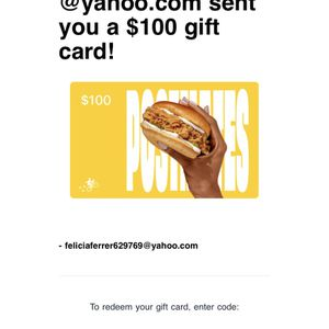 $100 Postmates Gift Code for Sale in Chicago, IL