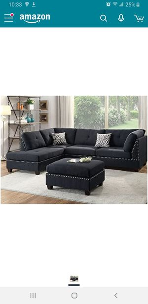 Black Chaise Sectional Set/Couch/ Sofa with Ottoman for Sale in Phoenix, AZ