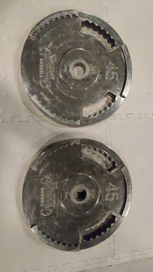 Two 45 Pound York Barbell Rubber Coated Interlocking Olympic Plates for Sale in Washington, DC
