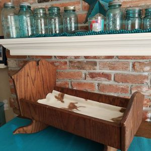 Solid Oak Cradle~ Doll Bed ~ Photo Prop ~ American Girl for Sale in Everett, WA
