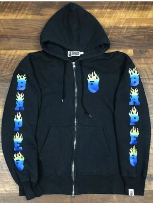Bape A Bathing APE Flame Zip Up Hoodie Black sz L Authentic Hooded Men's Jacket for Sale in San Jose, CA